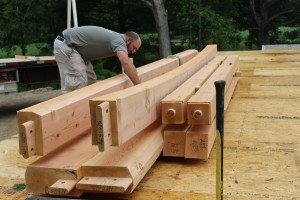 Getting the timbers ready and organized.