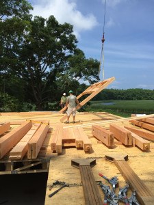 The first timber set being raised!